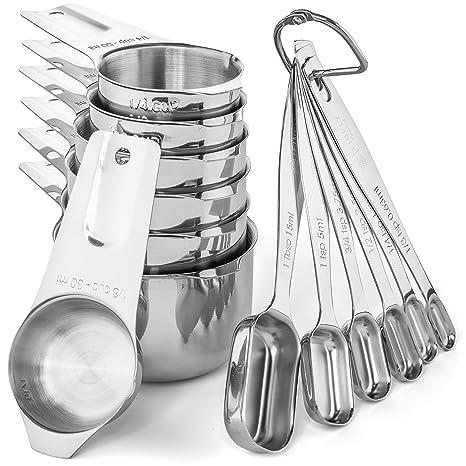 Amazon.com: Juego de tazas y cucharas medidoras de acero ...
