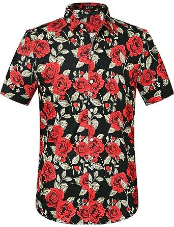 6e9becdfd8e1 SSLR Men's Summer Rose Prints Button Down Short Sleeve Shirt (Small, Black)