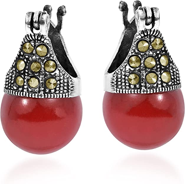 Details about  /Antique Art Deco Victorian Red Coral Marcasite Dangle Earrings Sterling Silver