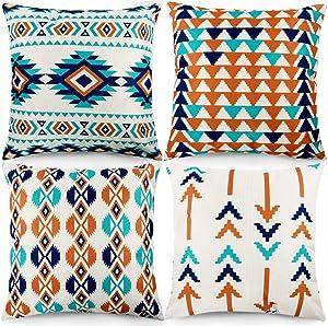 CDWERD 4pcs Modern Geometric Throw Pillow Covers Vibrant Orange Burlap Pillowcase 18x18 Inches Cotton Linen Cushion Case Home Decor for Car Sofa Bed Couch
