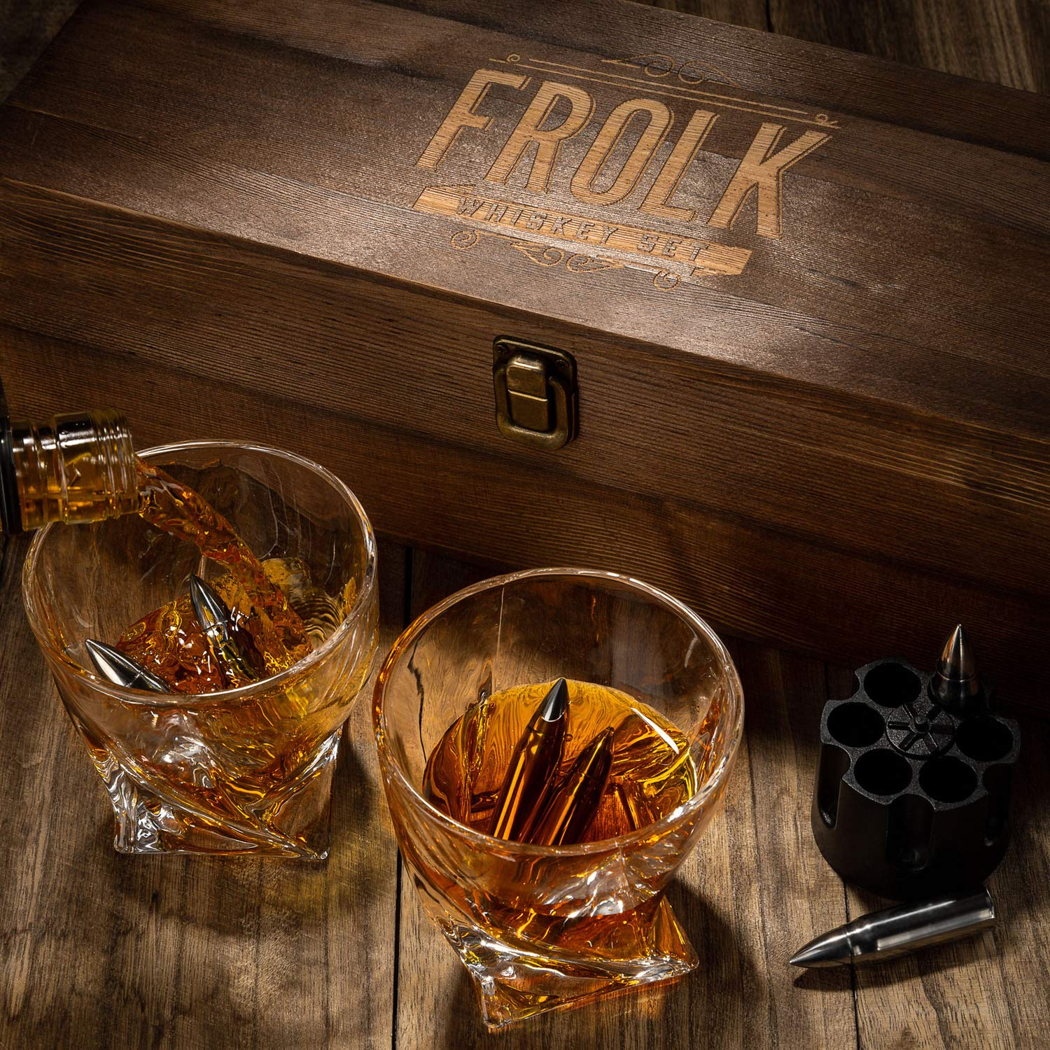 Whiskey Bullet Stones Premium Gift Set By Frolk, Set Of 6 Extra Large Stainless Steel Whiskey Stones, 2 Large Twisted Whiskey Glasses (11 oz), Freezer Base, Velvet Pouch & Tongs In Novelty Wooden Box by Frolk (Image #6)