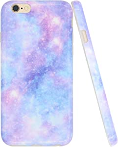 A-Focus Case for iPhone 6s Case Blue, iPhone 6 Case for Girls, Purple Violet Blue Galaxy Smooth IMD Design Slim Flexible Protective Silicone Case for iPhone 6 iPhone 6s 4.7 inch Glossy Blue 4