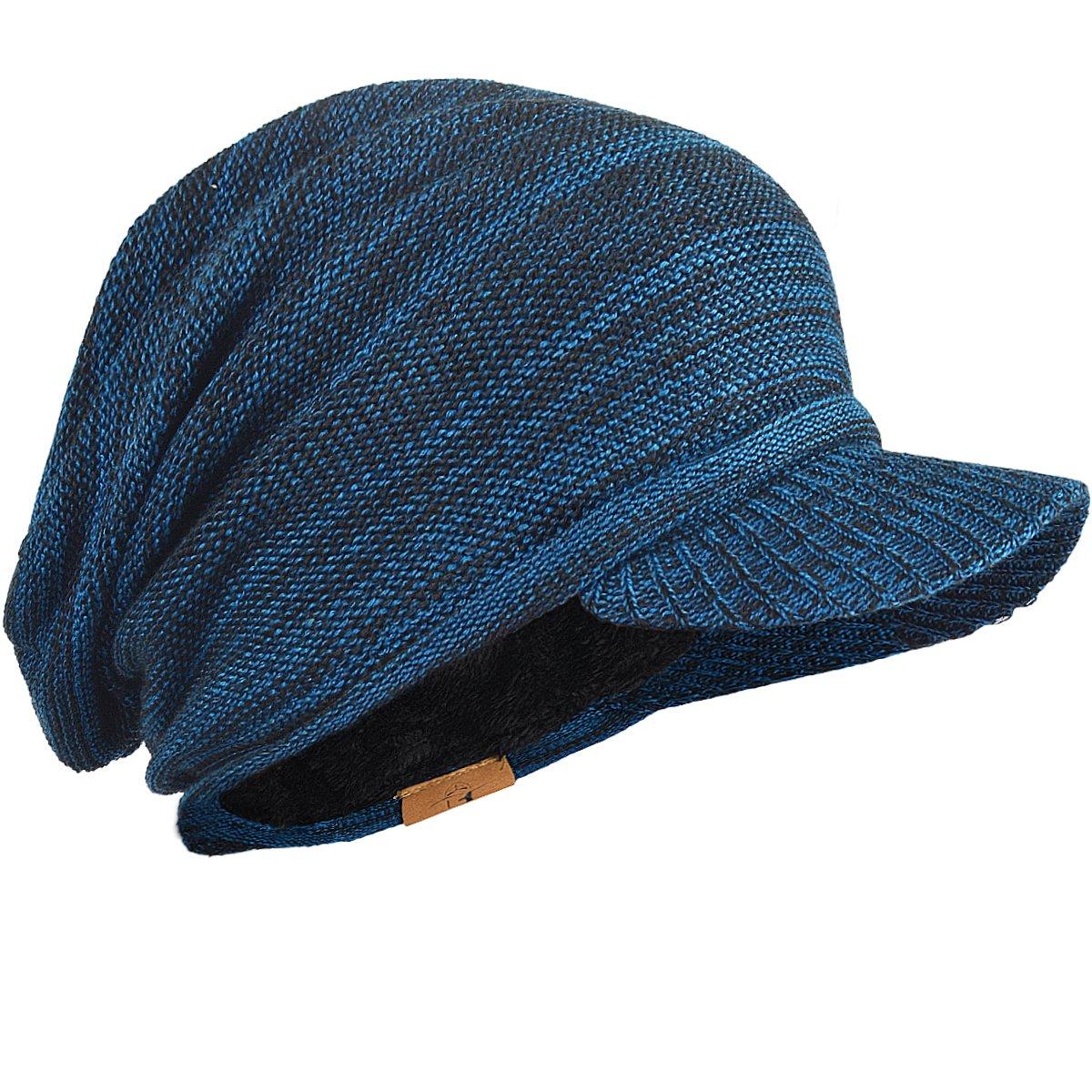 FORBUSITE Men Slouchy Winter Knit Visor Beanie Cap B319 B320-C1-BK