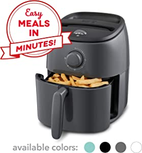 Dash DCAF200GBGY02 Tasti Crisp Electric Air Fryer + Oven Cooker with Temperature Control, Non Stick Fry Basket, Recipe Guide + Auto Shut Off Feature, 2.6Qt, Grey (Renewed)