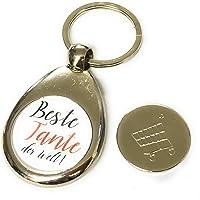 Schlüsselanhänger silber Beste Tante der Welt Mit Einkaufswagen chip