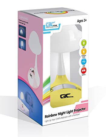 Wonderful Rainbow Projector U0026 Night Light   Multifunction Tabletop Multicolor LED Lamp  For Kids Bedroom   Yellow
