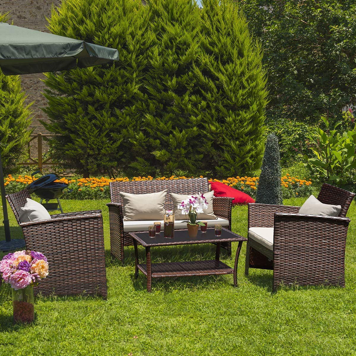 Tangkula AM1567HM Roll Over Image to Zoom Rattan Sofas 4 pcs Wicker Set Outdoor Patio Furniture