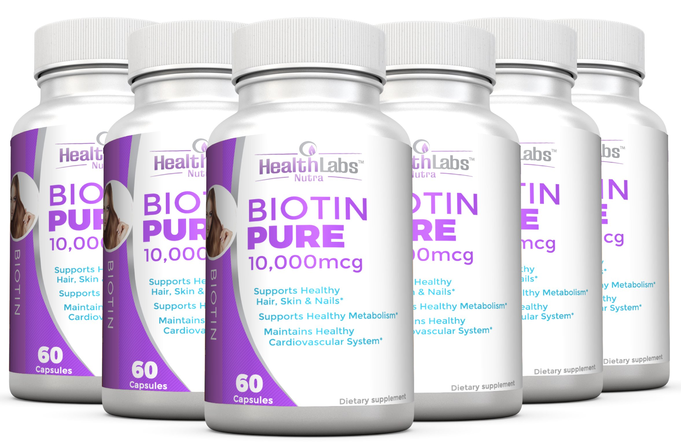Health Labs Nutra Biotin Pure 10,000mcg per Veggie Capsule- Promotes Healthier Skin, Hair and Nails - Pack of 6