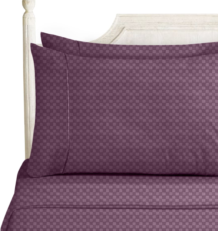 Nestl Bedding Bed Sheet Bedding Set, King, Purple Eggplant, Elegant Checkerboard Design - 2000 Luxury Bedding Collection, Soft Microfiber Deep Pocket Sheet, Hypoallergenic, Bed Linen Set