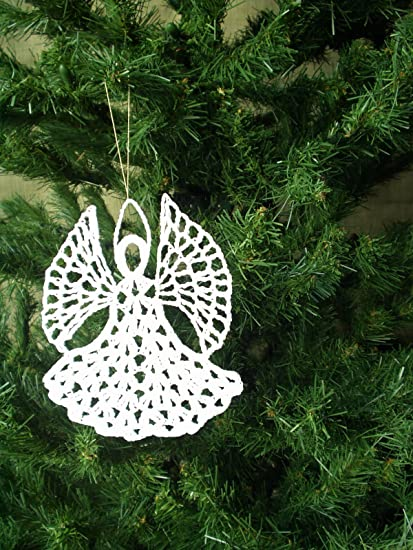 angel christmas ornament white crochet or 008 - Crochet Angel Christmas Tree Decorations