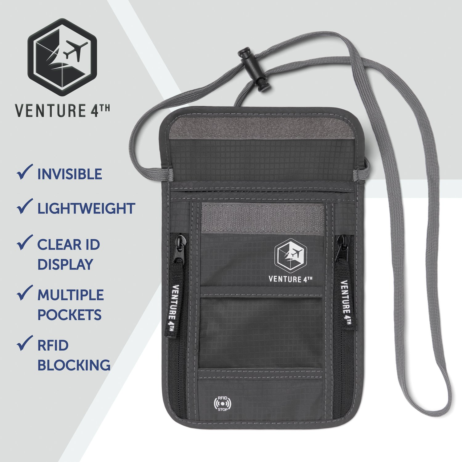 Venture 4th Travel Neck Pouch With RFID Blocking - Travel Wallet Passport Holder (Grey) by VENTURE 4TH (Image #7)