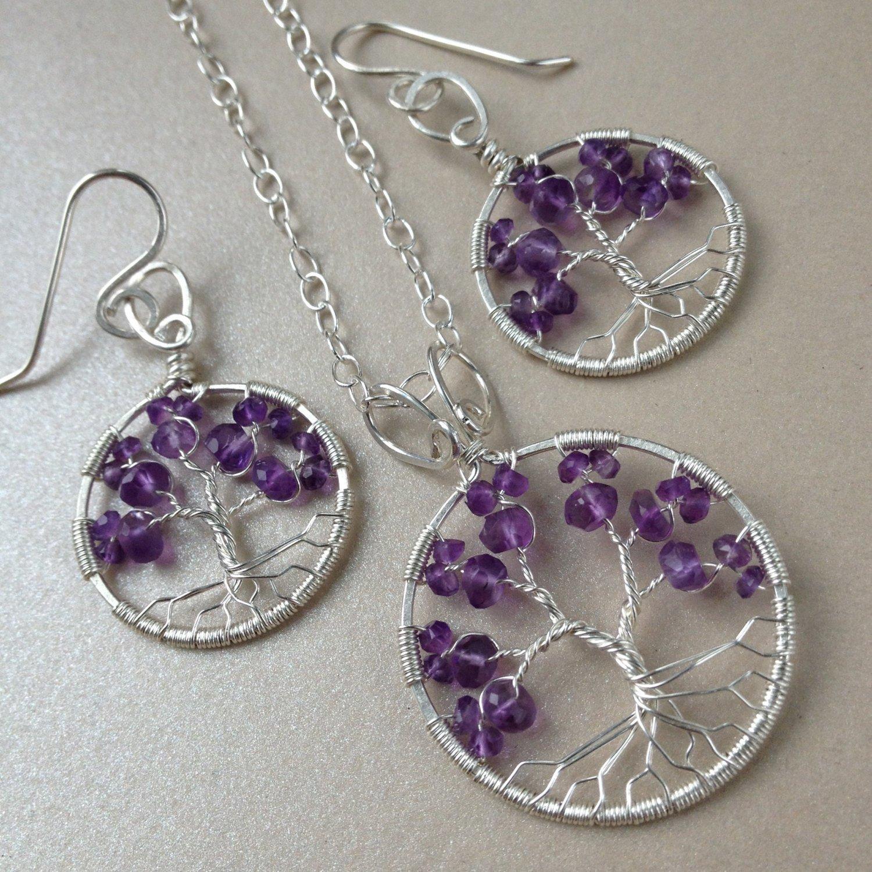 Amethyst Tree Of Life Jewelry Set, 6th Anniversary, February Birthstone, Tree-Of-Life Gift Set
