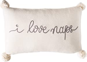 Linen Perch I Love Naps Decorative Throw Pillow and Insert - Dorm Room Decor - Room Decor for Teen Girls - Baby Nursery Pillow – Gift for Girlfriend or Baby - 16 inches x 10 inches (Cream)