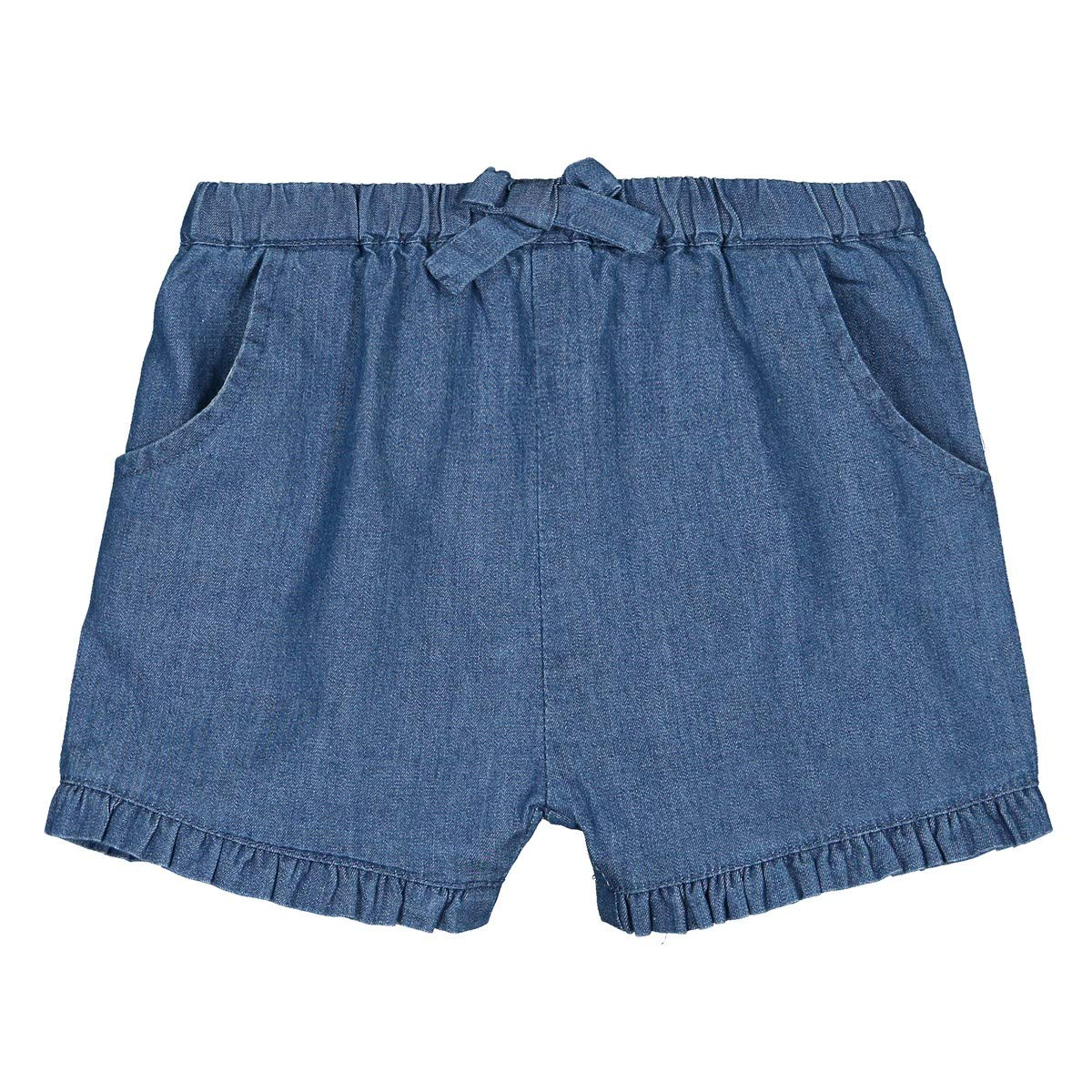 La Redoute Collections Big Girls Denim Ruffled Bloomer Shorts 1 Month-3 Years