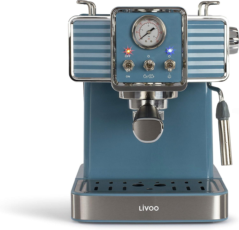 Livoo DOD174 - Cafetera de café espresso (15 bares, calentador Thermoblock | Boquilla de vapor para capuchino, leche caliente | Aspecto retro azul 1300 W: Amazon.es: Hogar