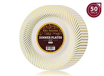 Bulk Pack of 50 Disposable Plastic Party and Dinner Plates - Ivory Cream Color with Gold  sc 1 st  Amazon.com & Amazon.com: Bulk Pack of 50 Disposable Plastic Party and Dinner ...