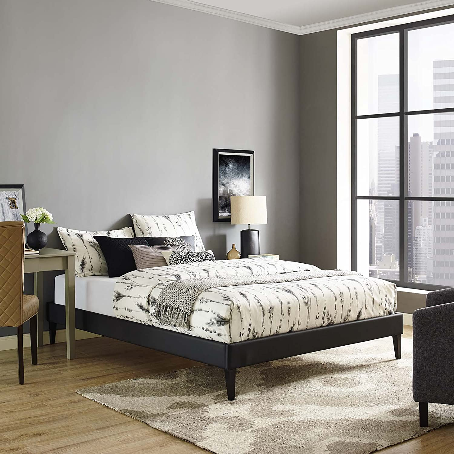 Modway Tessie Faux Leather King Platform Bed Frame with Wood Slat Support in Black