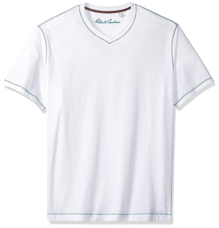 Robert Graham Mens Maxfield Short Sleeve Vneck Tshirt