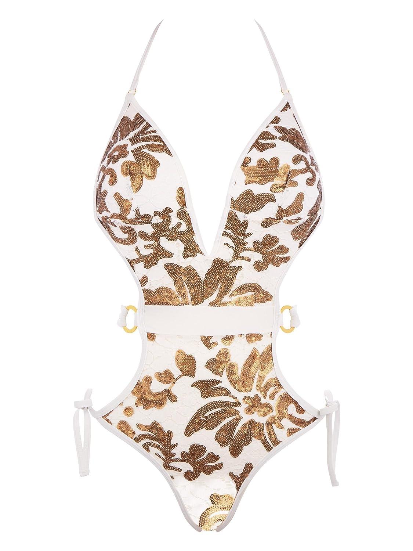 14e950cd795 Ann Summers Womens Montego Monokini Stretchy Plunge Sexy Swimwear Beachwear  White/Gold 10: Amazon.co.uk: Clothing