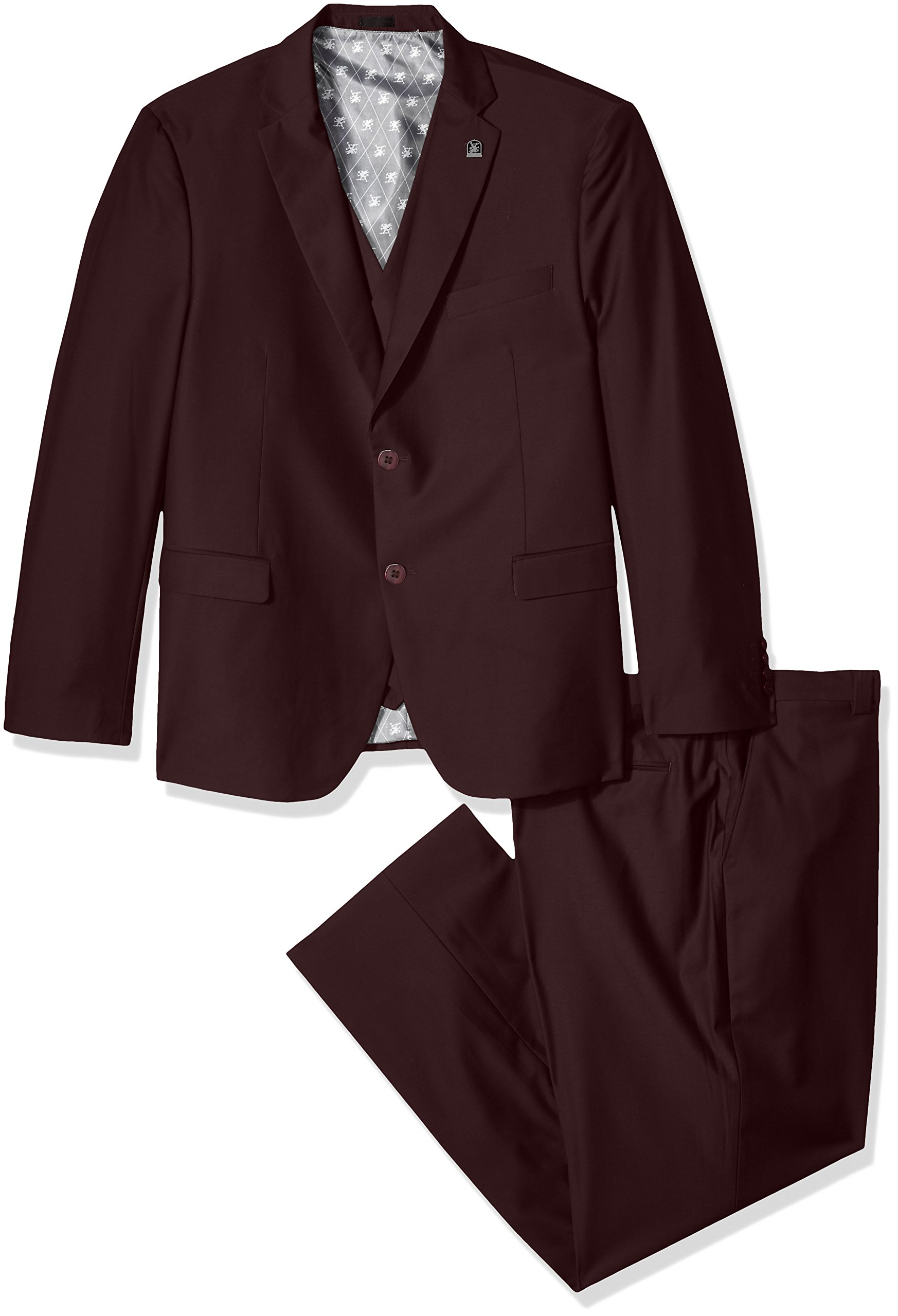 Stacy Adams Men's Big and Tall Bud Vested Slim Fit Suit, Burgundy, 54 Regular