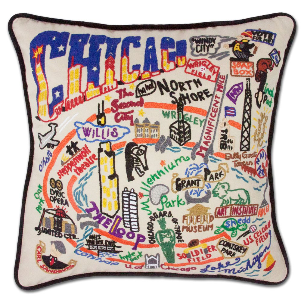 Catstudio Chicago Pillow - Geography Collection Home Décor 090(CS) by Catstudio Embroidered Pillow
