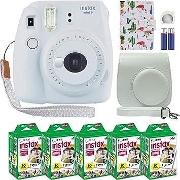 Fujifilm Instax Mini 9 Polaroid Instant Camera Smokey White With Custom Case Fuji Instax Film Value Pack 50 Sheets Flamingo Designer Photo Album For Fuji Instax Mini 9 Photos Camera Photo