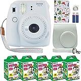 Fujifilm Instax Mini 9 Polaroid Instant Camera Smokey White with Custom Case + Fuji Instax Film Value Pack (50 Sheets) Flamin