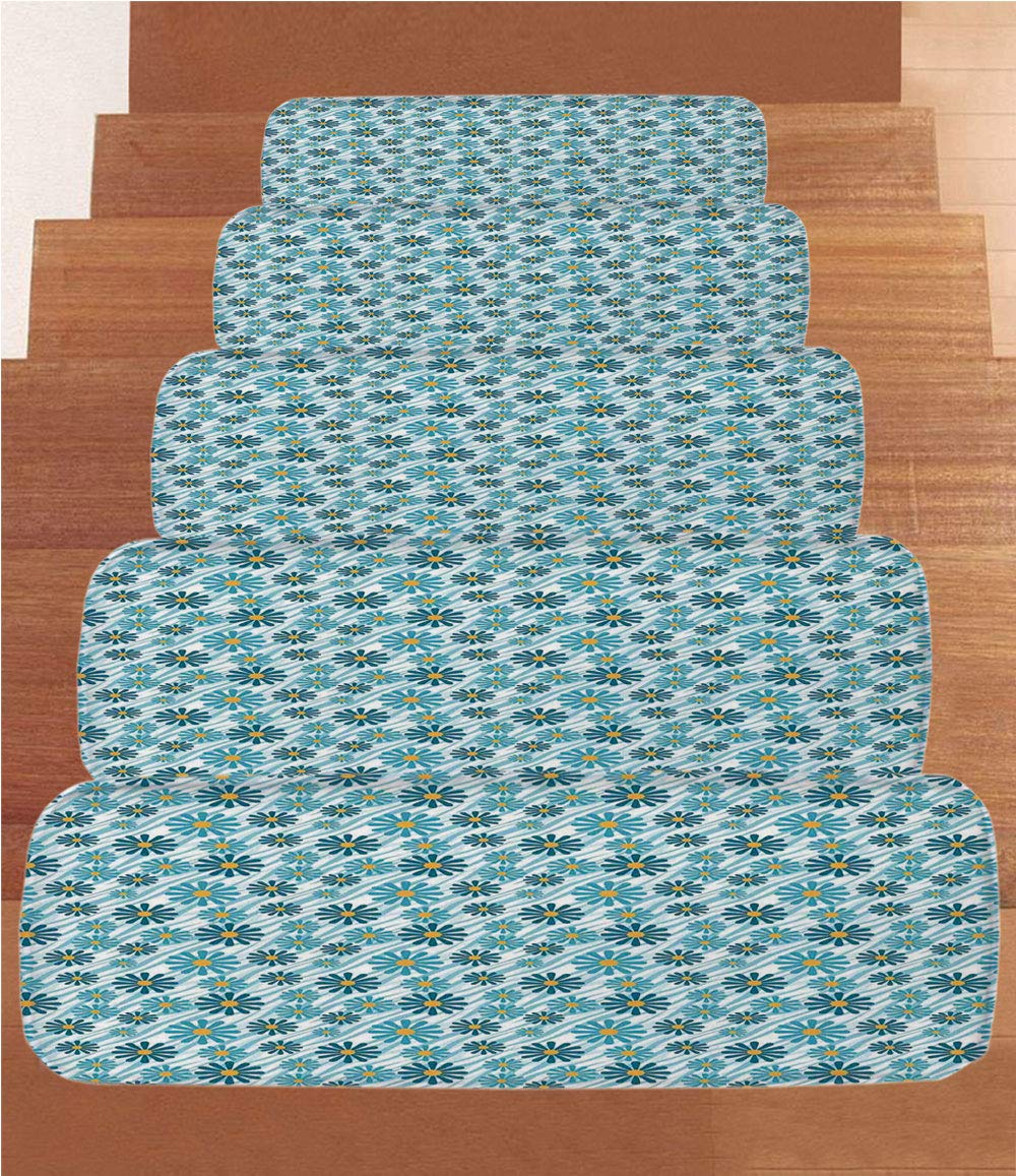 iPrint Non-Slip Carpets Stair Treads,Animal Print Decor,Daisy Flowers Blooms On Geometric Curvy Tilted Stripes Artful Design Illustration,Blue Yellow,(Set of 5) 8.6''x27.5'' by iPrint