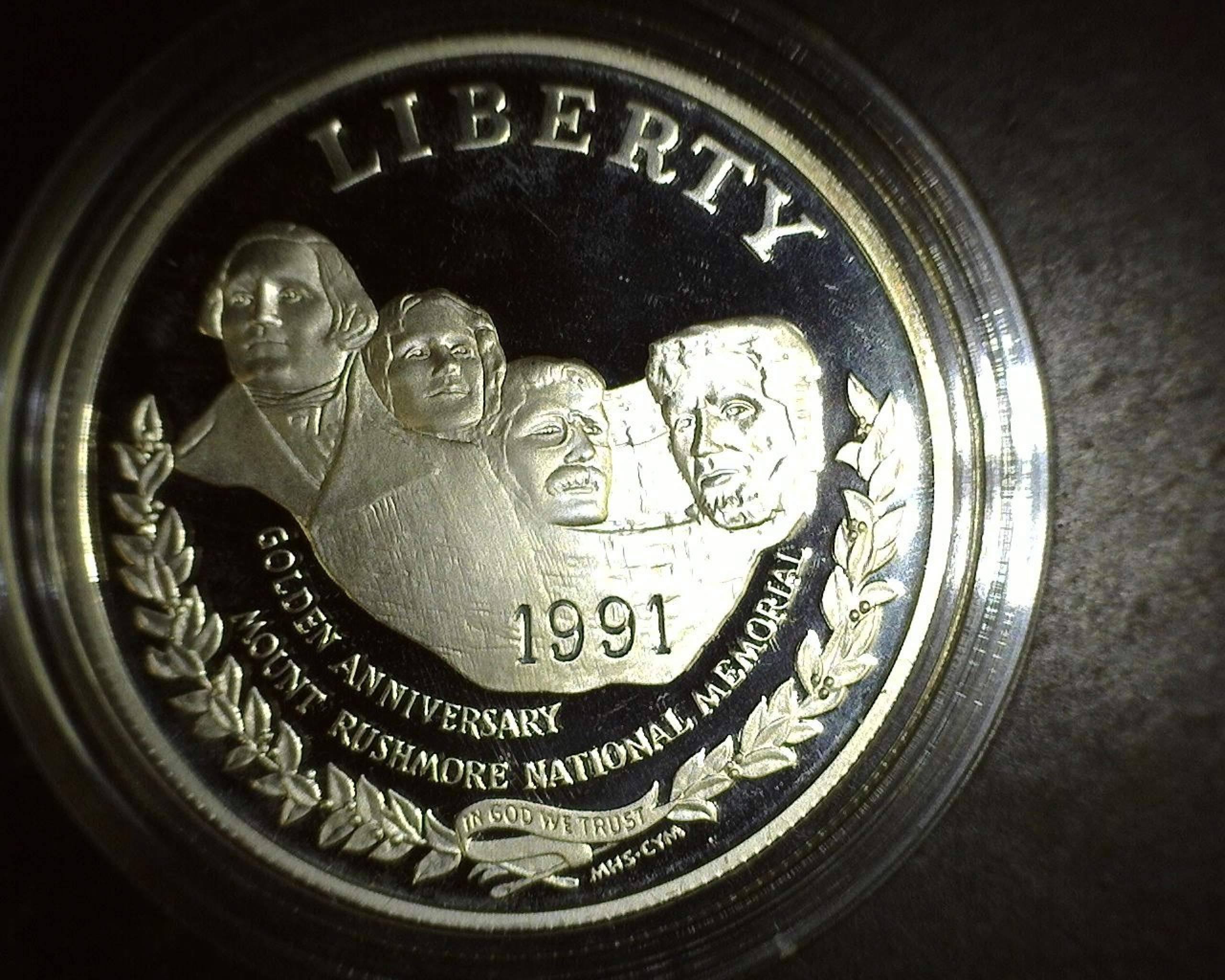 1991 S Mount Rushmore Golden Anniversary PROOF Silver Dollar $1 PROOF US Mint