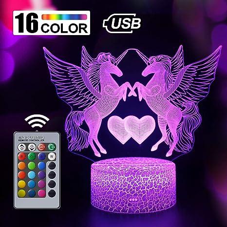 Regalo de Unicornio Luz de Noche para Niños, Lámpara de Luz 3D 7 ...