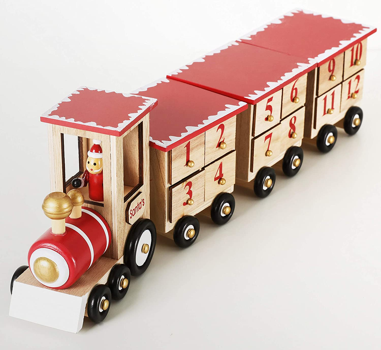 Brubaker Weihnachtszug Eisenbahn Adventskalender aus Holz Naturfarben Rot 47,5 x 9,5 x 14 cm