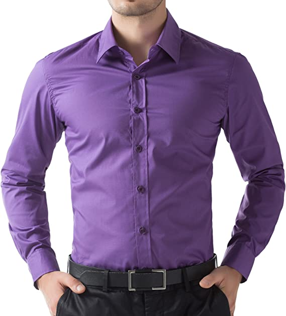 Men/'s purple Cotton Everyday Shirt Classic Collar Formal office wear Long Sleeve