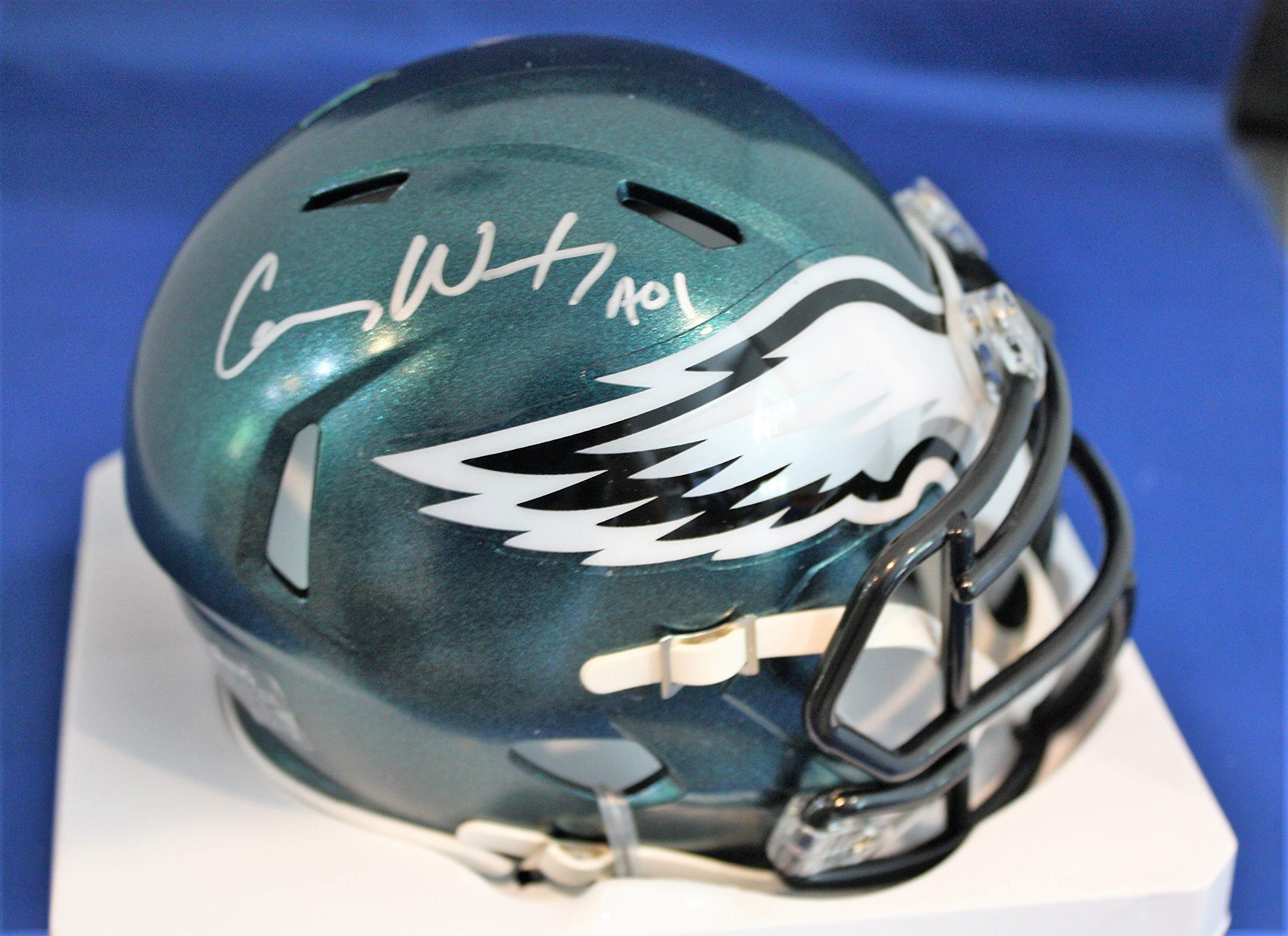 Autographed Carson Wentz Philadelphia Eagles Super Bowl LII Mini Helmet with Fanatics Hologram