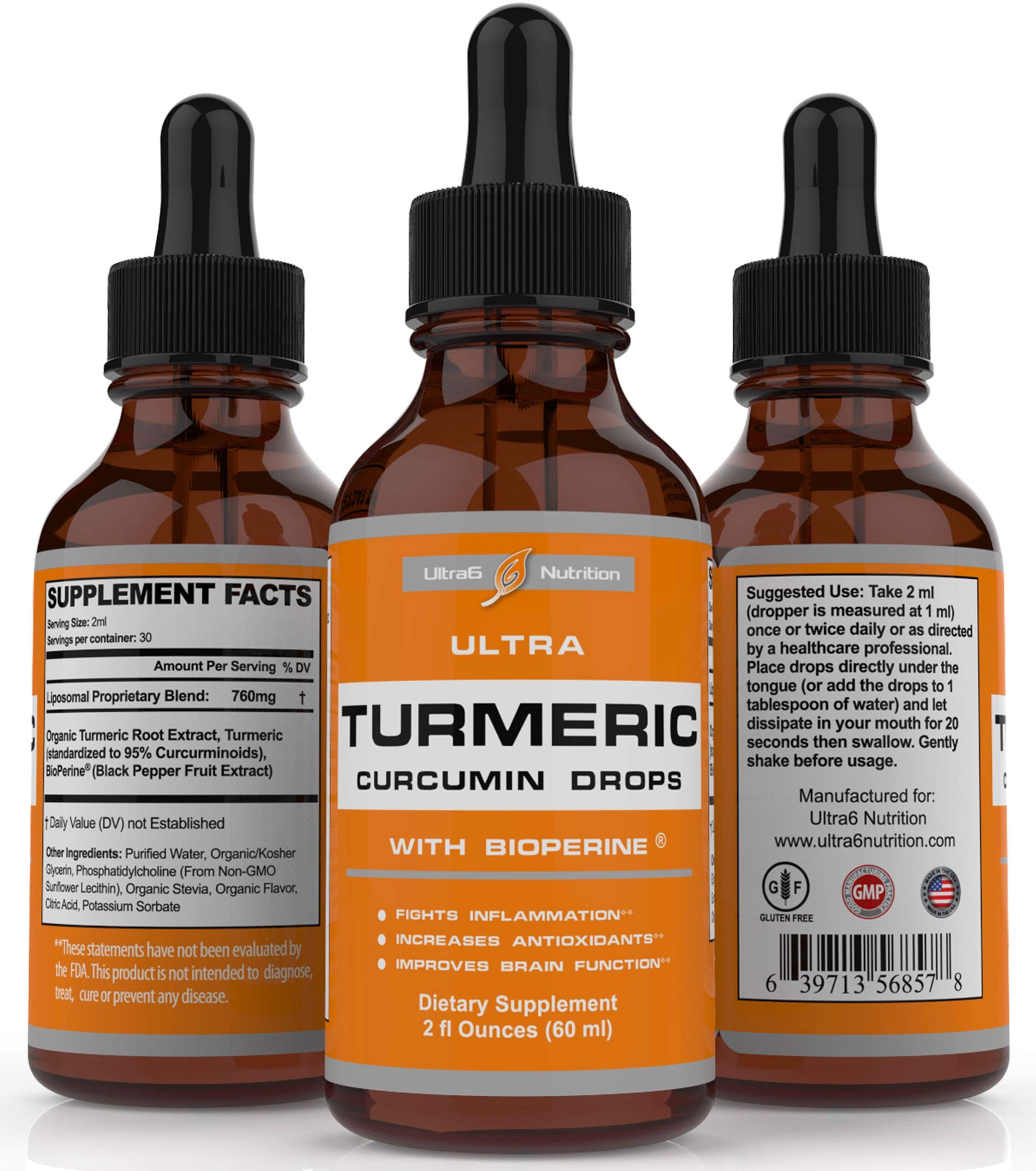 Turmeric Curcumin Drops with Bioperine Black Pepper Fruit Extract via Liquid Tincture for Best Absorption and Organic. Fights Joint Pain + Inflammation Support