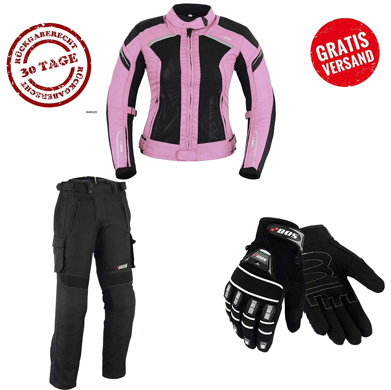 HANDSCHUHEN HOSE BIKE MOTORRAD ROCKER TOURING in verschiedenen farben S, Schwarz Rose DAMEN MOTORRADKOMBI JACKE
