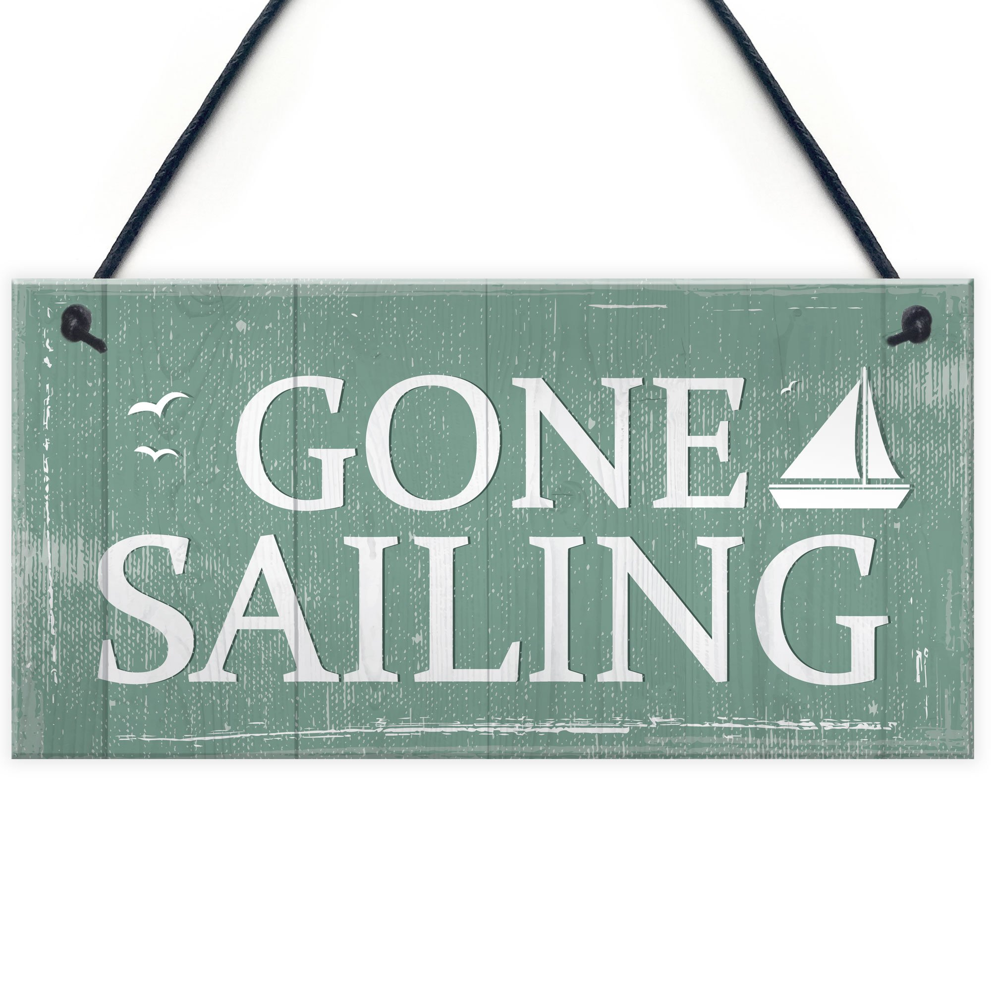 Gone Sailing Hanging Plaque Nautical Decor Beach Seaside Shabby Chic Home Sign Gift