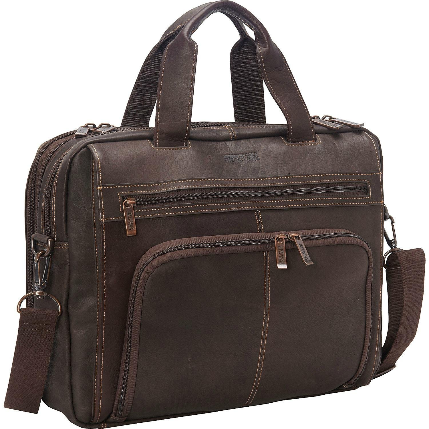 Kenneth Cole Reaction ''Out Of The Bag'' Colombian Leather Double Compartment Expandable Top Zip Portfolio/Computer Case/  Fits Most 15.4'' Laptops, Brown, One Size