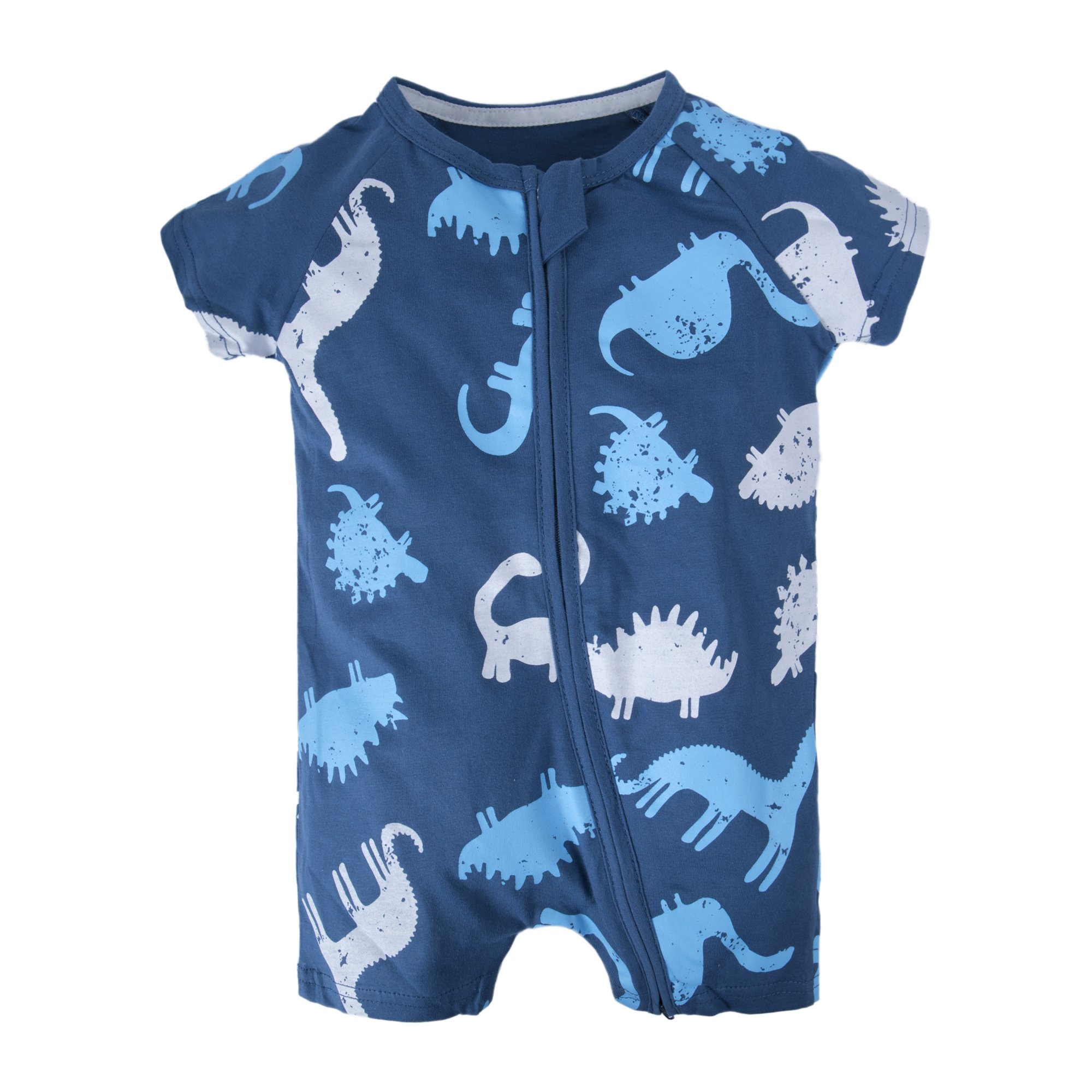 BIG ELEPHANT Baby Boys'1 Piece Short Sleeve Pajama Dinosaur Print Zipper Romper Dinosaur Q11-80 9-12 Months