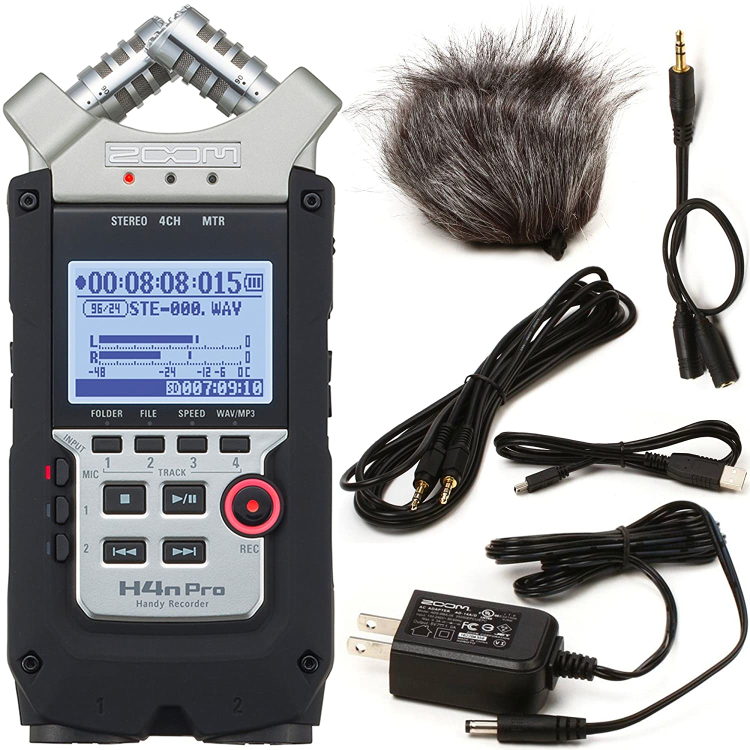 Zoom H4n Pro Four-Track Handy Audio Recorder with Accessory Pack FP Logistics