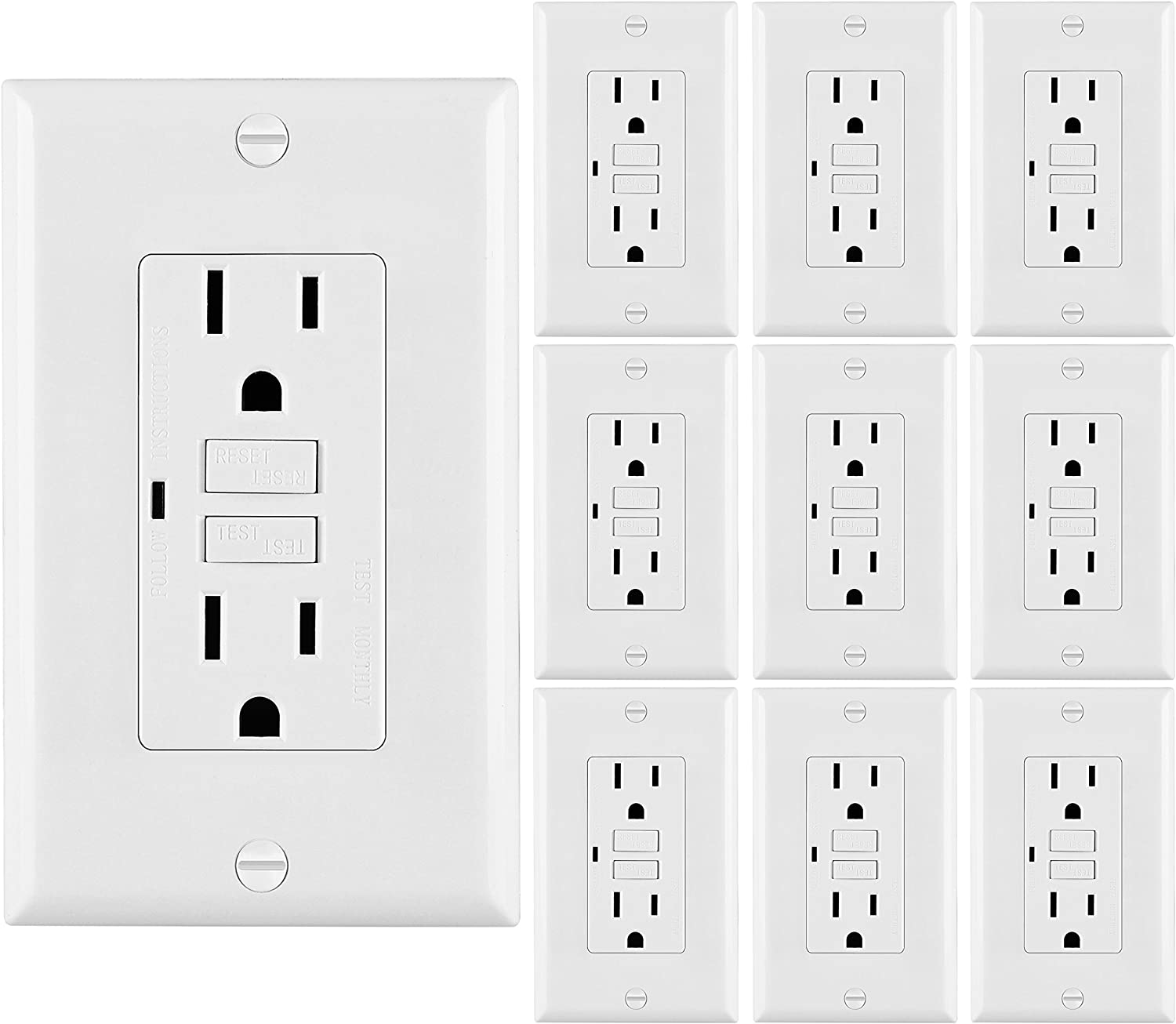 Auto-Test Function 2 Pack BESTTEN Self-Test GFCI Receptacle Outlet with LED Power Indicator UL Certified White 15A//125V//1875W Decor Wall Plate Included