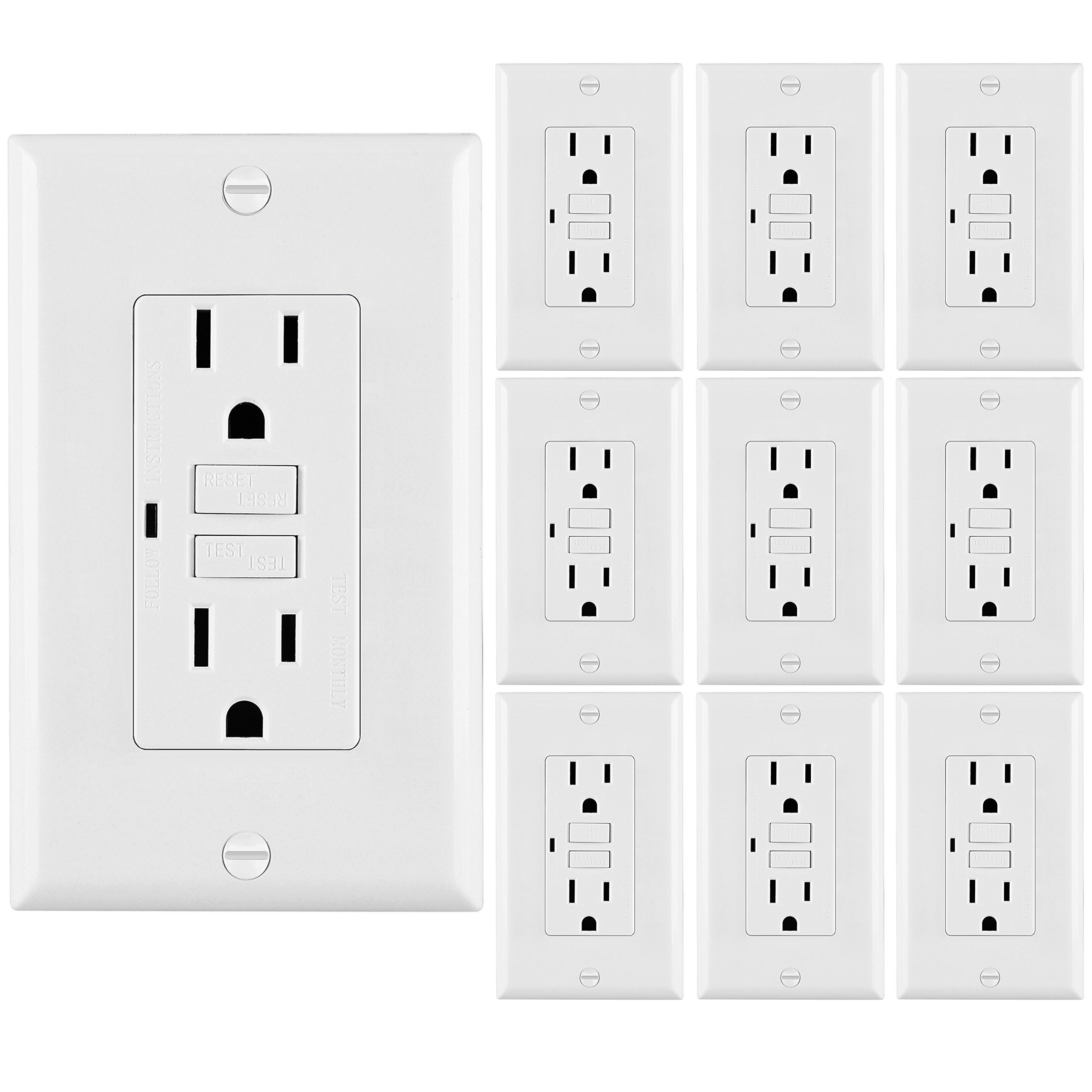 [10 Pack] BESTTEN Auto-Test GFCI, 15 Amp, Non-Tamper-Resistant Receptacle Outlet with LED Indicator, Decor Wall Plate Included, UL Listed, White