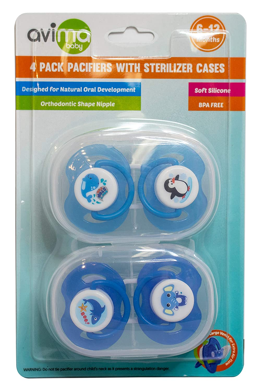 Amazon.com: Avima Baby 4 chupetes con 2 estéreos extra. 6-12 ...