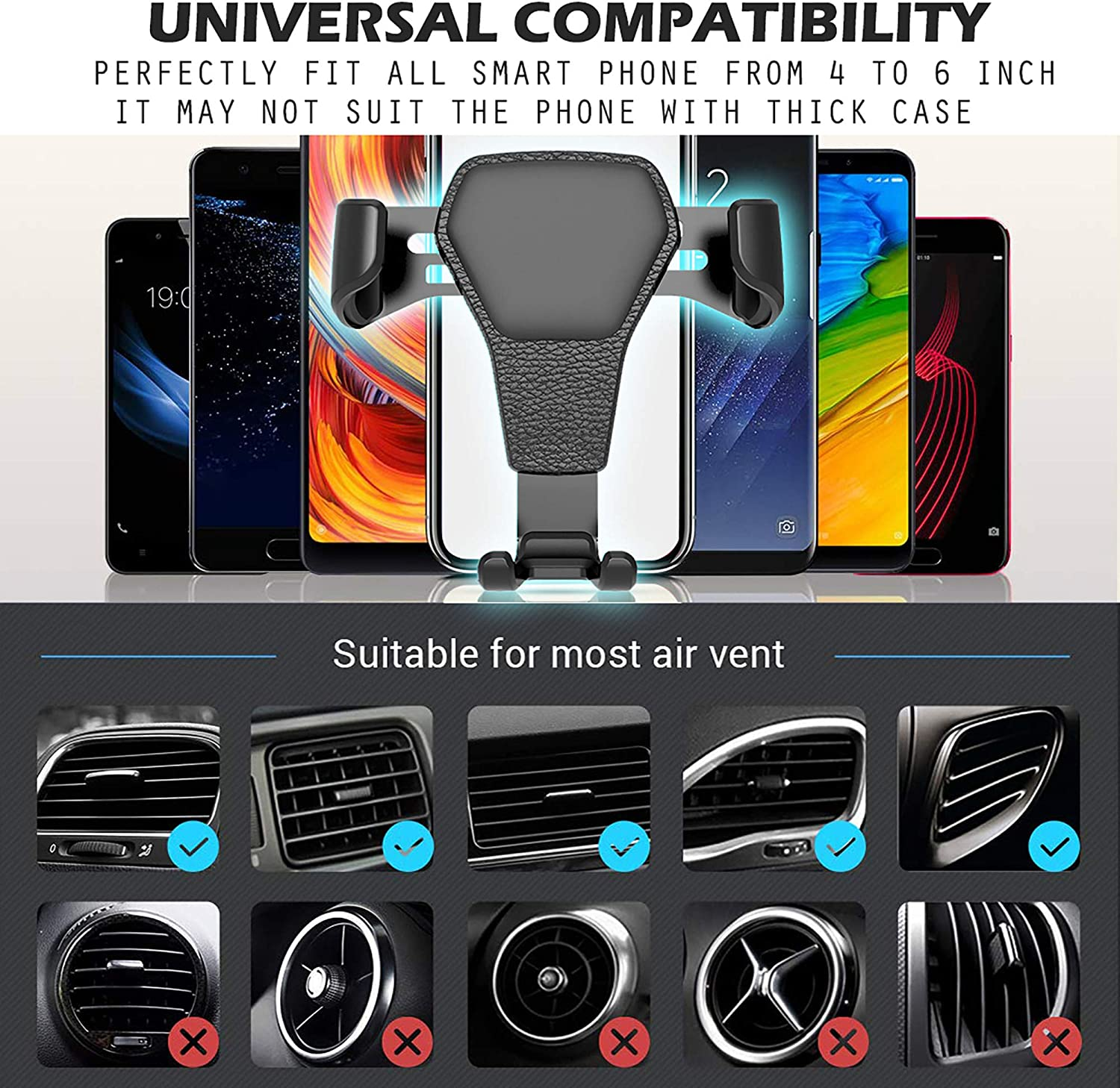 Handyone Universal Car Phone Mount LG Series Other Smartphone Air Vent 360/° Rotation Holder for iPhone X 8 Plus 7plus 6s 6plus SE Samsung Galaxy S9puls S8 S7 Edge S6 Note 8 A9