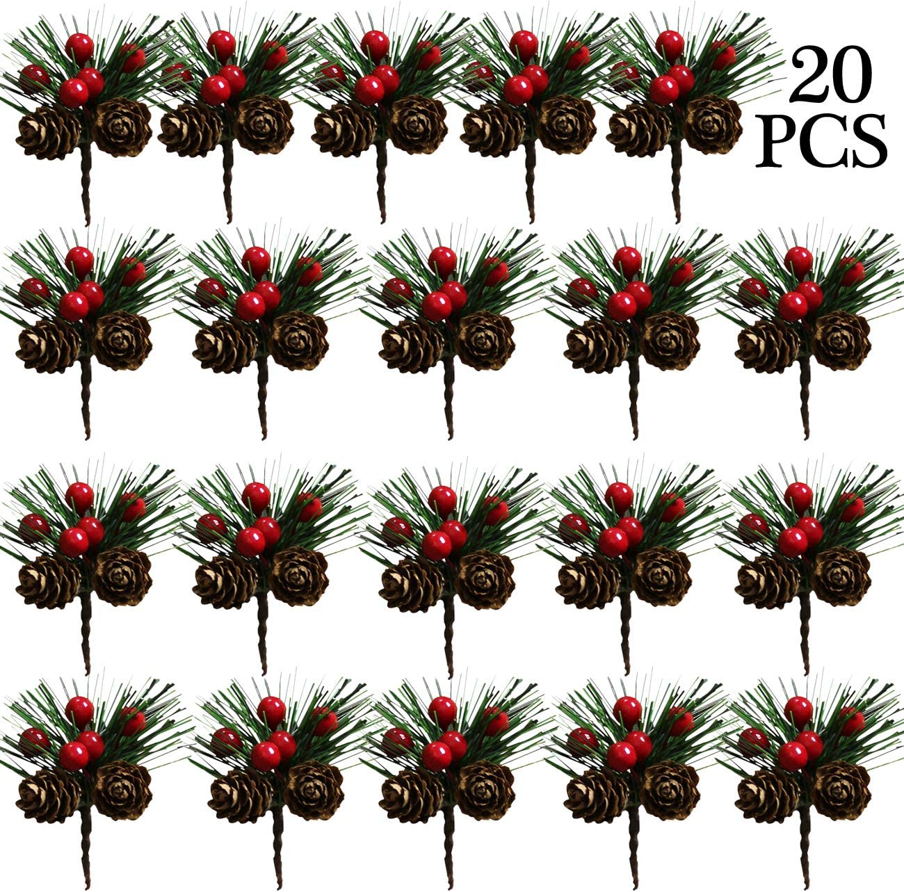 Acronde 20PCS Artificial Pine Picks Christmas Simulation Pine Needle Small Berries Pinecones for Flower Arrangements Wreaths Wedding Garden Xmas Tree Decorations