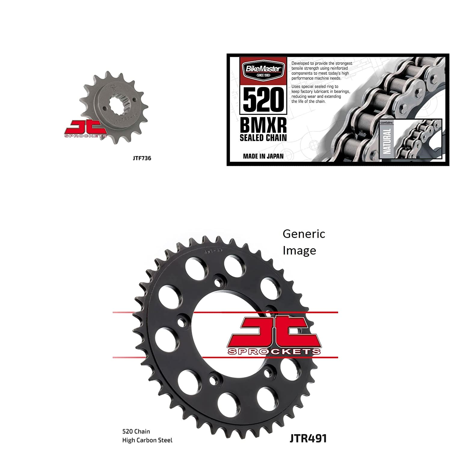 BIKEMASTER 520 BMXR Sealed Chain Natural, JT Front & Rear Sprocket Kit for Street DUCATI 906 Paso Sports 1990-1993