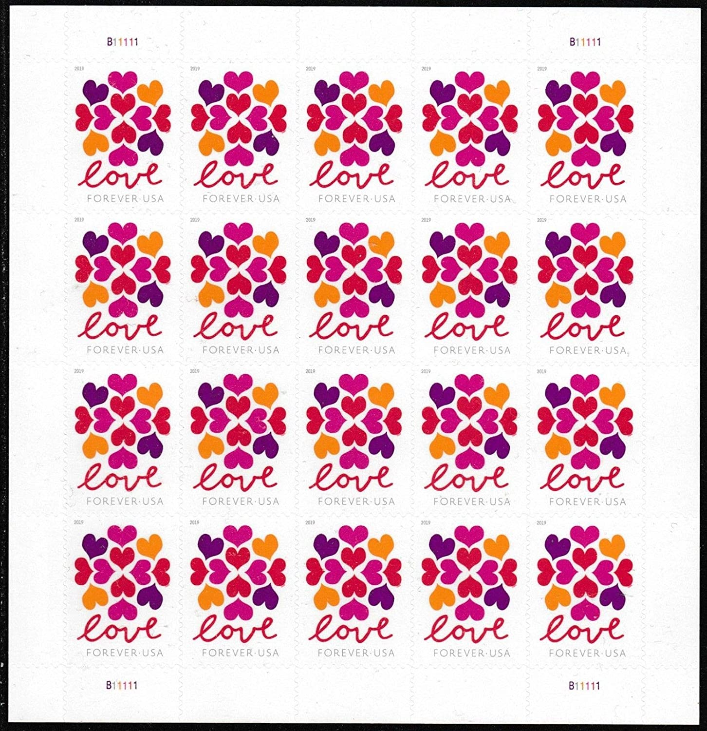 2019 Love Hearts Blossom Pane of 20 Forever Postage Wedding Stamps Scott 5339