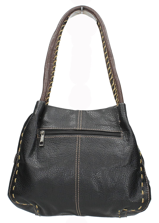 a10d4f774212 Midas Boutique Faux Leather Button Detail Handbag - Black  Amazon.co.uk   Shoes   Bags