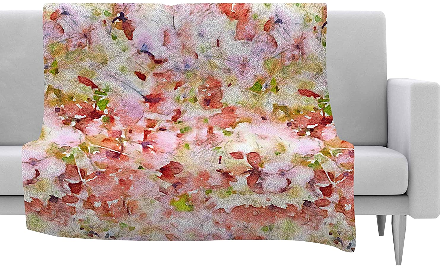 80 by 60 Kess InHouse Carolyn Greifeld Pink Flowers Garden Pink Red Fleece Throw Blanket