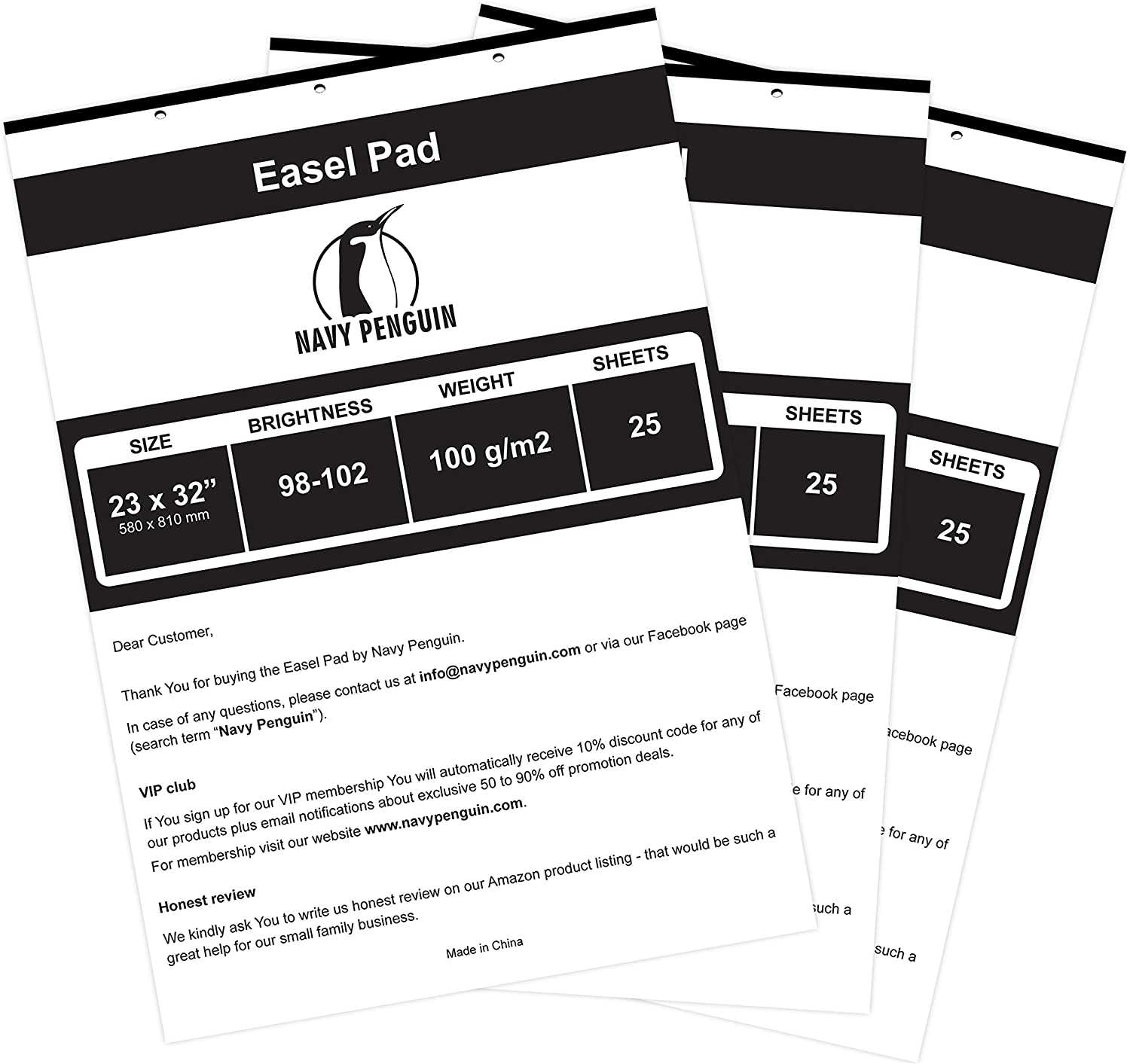 """Easel Pad 23x32"""" - 3 Pack (75 Sheets) - Flip Chart Paper, 25 Sheets/Pack, Plain White, Poster Flipchart 100 gsm - Large Drawing Pad for Teachers, Kids, Classroom, Office, Craft, Art, Presentation : Office Products"""