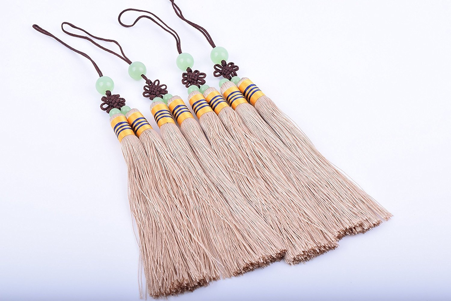 Large KONMAY 5pcs Soft Khaki Handmade Silky Craft Two Strands Tassels With Jade Beads and Chinese Knots